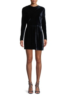 A.L.C. Marin Short Long-Sleeve Cowl-Neck Velvet Dress