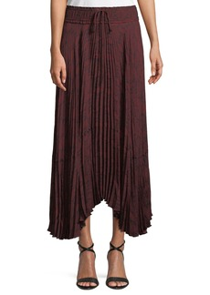 A.L.C. Maya Pleated Snake-Print Maxi Skirt