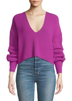 A.L.C. Melanie Wool V-Neck Cropped Sweater