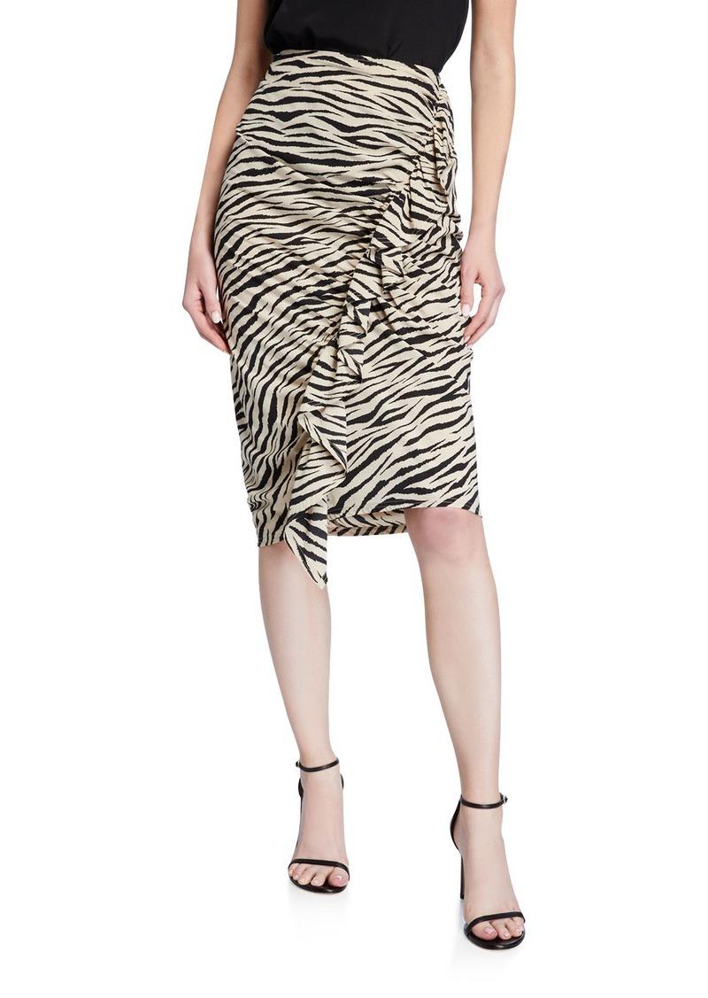 A.L.C. Metz Animal-Print Ruffle Skirt