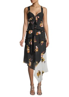 A.L.C. Natalia Floral Silk Ruffle Dress