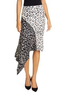 A.L.C. Natalie Leopard Print Asymmetrical Colorblock Skirt