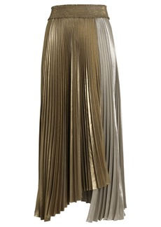 A.L.C. Neville Pleated Lamé Skirt