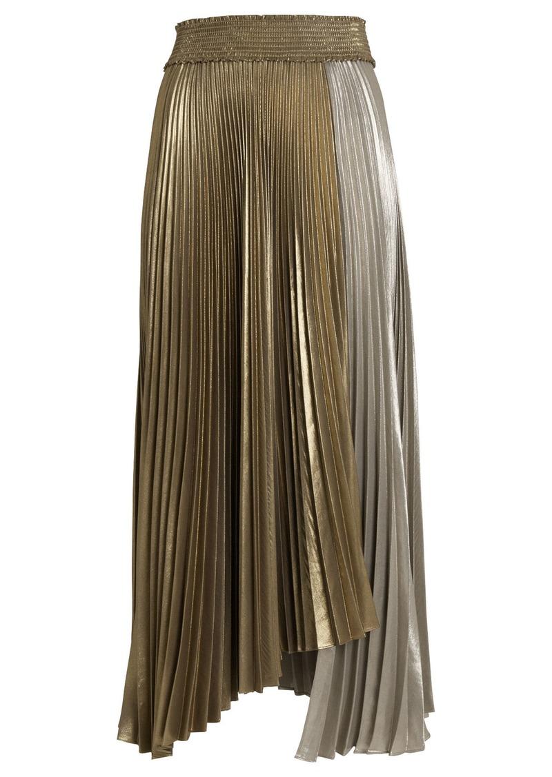 A.L.C. Neville Pleated Lamé Skirt