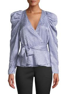 A.L.C. Palermo Silk Long-Sleeve Wrap Top