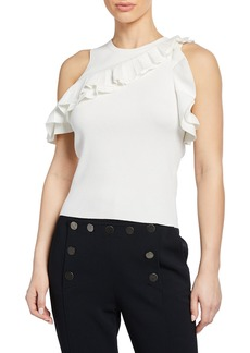 A.L.C. Palmer Ruffle Off-the-Shoulder Tank Top