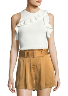 A.L.C. Palmer Sleeveless Rib-Knit Top w/ Ruffled Trim