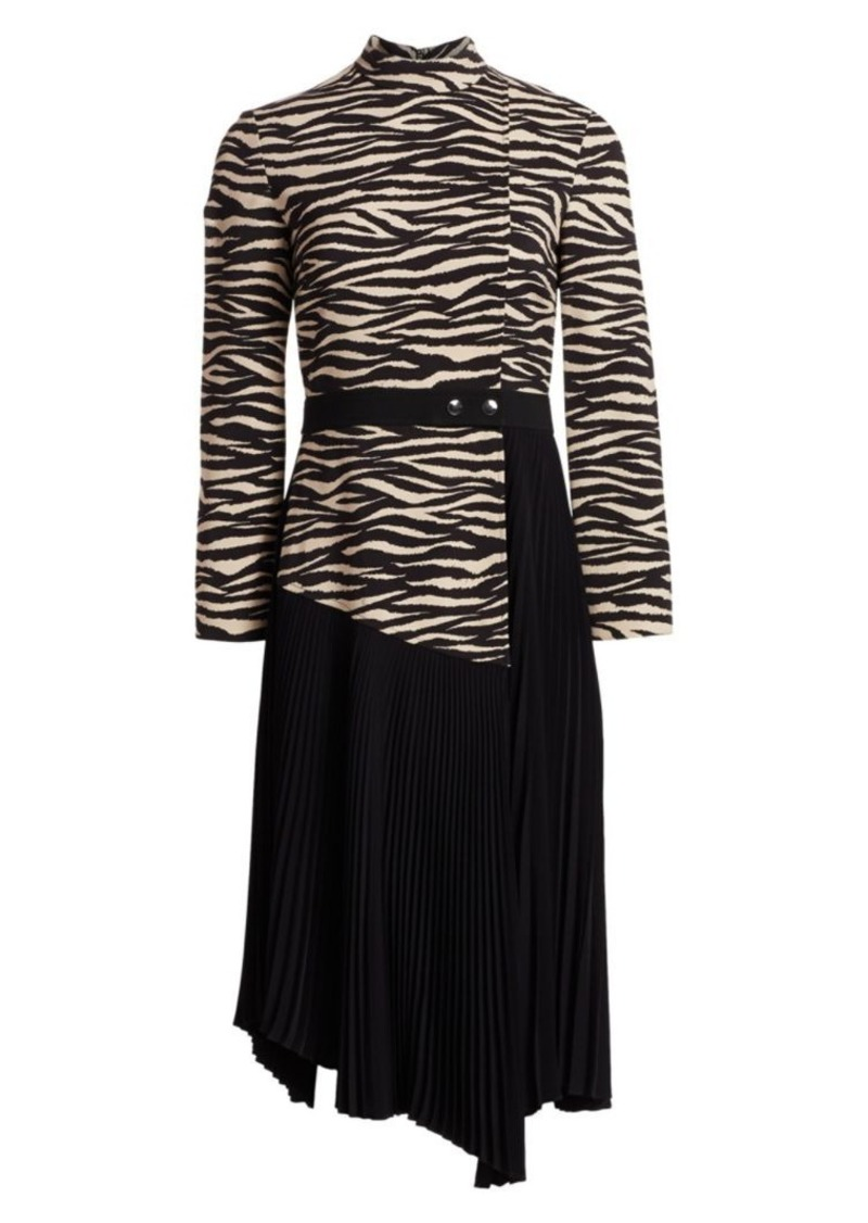 A.L.C. Peyton Tiger-Print Paneled & Pleated Dress