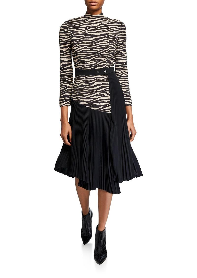 A.L.C. Peyton Zebra Mock-Neck 3/4-Sleeve Pleated Dress