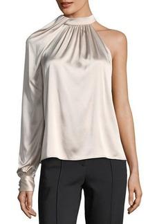 A.L.C. Piper Mock-Neck One-Shoulder Silk Satin Blouse