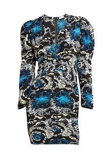 A.L.C. Roxy V-Neck Long-Sleeve Printed Dress