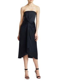 A.L.C. Roya Twist-Front Strapless Midi Dress