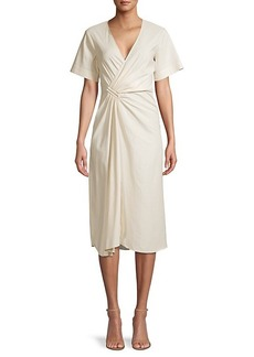 A.L.C. Ruched Linen-Blend Faux Wrap Dress