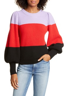 A.L.C. Sammy Balloon Sleeve Colorblock Sweater