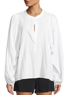 A.L.C. Sawyer Blouson-Sleeve Poplin Top