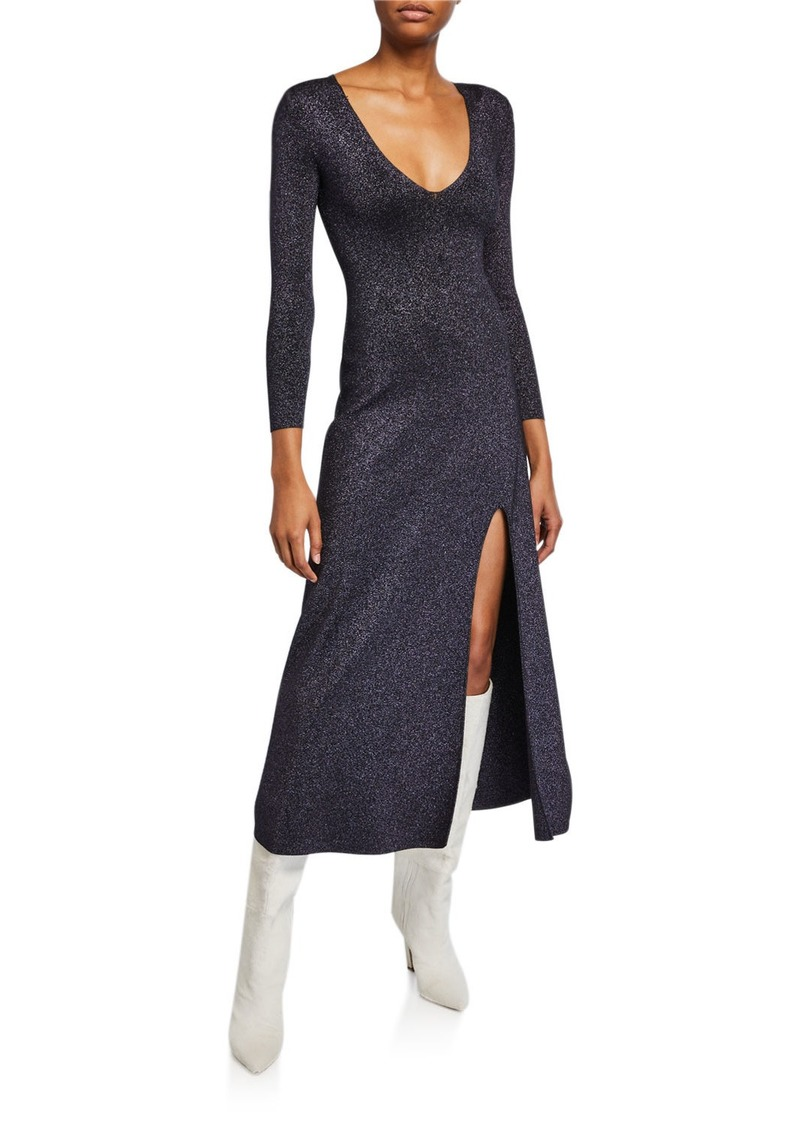 A.L.C. Serafina Strong-Shoulder Split Metallic Dress
