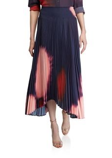 A.L.C. Sonali Pleated Tie-Dye Asymmetric Skirt