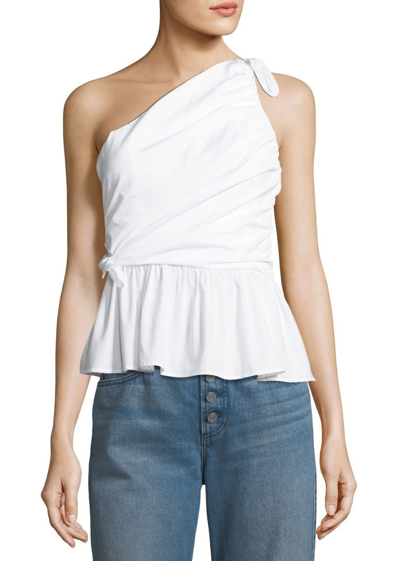 8063c3414ab A.L.C. Soraya One-Shoulder Draped Cotton Top | Casual Shirts