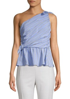 A.L.C. Stripe-Print One-Shoulder Top