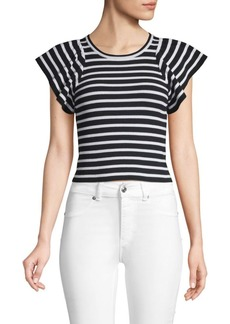 A.L.C. Striped Flutter-Sleeve Top