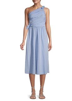 A.L.C. Striped One-Shoulder Fit-&-Flare Dress