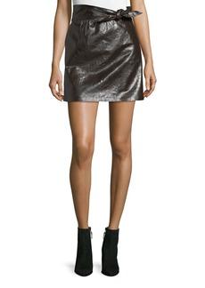 A.L.C. Tate Tie-Waist A-Line Leather Mini Skirt