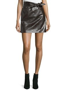 A.L.C. Tate Tie-Waist A-Line Leather Mini Skirt