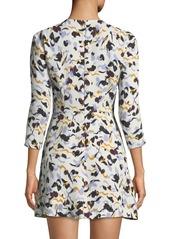 A.L.C. Terry 3/4-Sleeve Abstract-Print Silk A-Line Dress