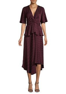 A.L.C. Tonal Striped Silk Asymmetrical Dress