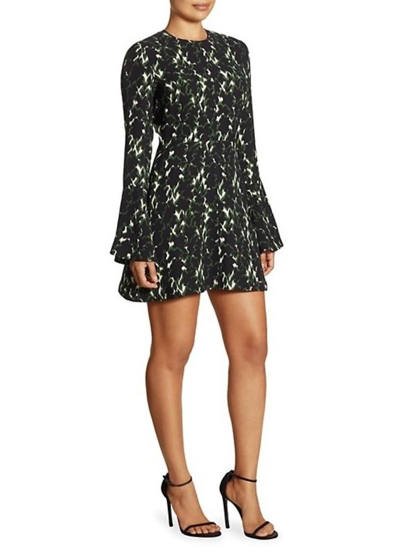 A.L.C. Trixie Printed Silk Bell-Sleeve Mini Dress