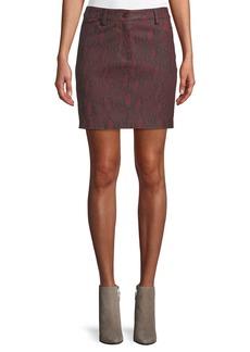 A.L.C. Troy Snake-Print Leather Mini Skirt