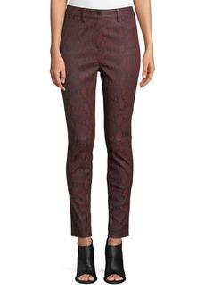 A.L.C. Turner Snake-Print Leather Skinny Pants