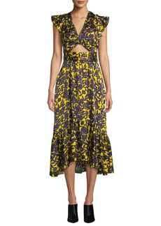 A.L.C. Valencia Cutout Floral-Print Silk Dress