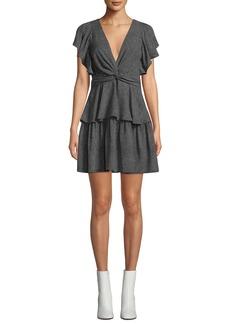 A.L.C. Viera Rimini Dot-Print V-Neck Flutter-Sleeve Dress