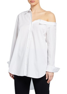 A.L.C. Wesley Button-Down Off-the-Shoulder Cotton Shirt