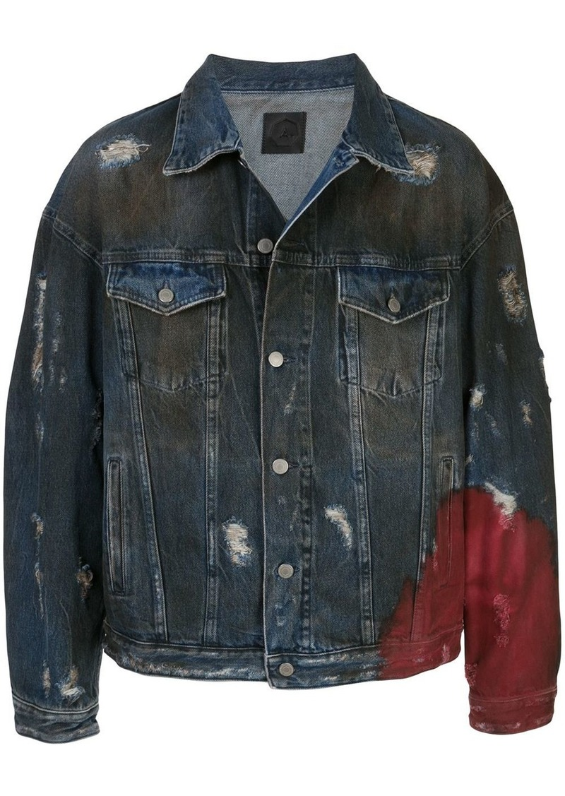 Alchemist distressed denim trucker jacket