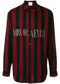 Alchemist slogan embroidered stripe shirt