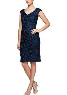 Alex Evenings Alex Evening Rosette Sheath Dress (Regular & Petite)