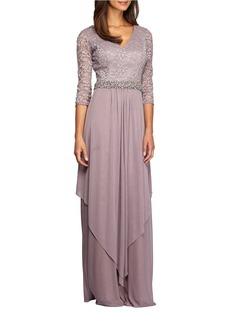 ALEX EVENINGS Asymmetric Overlay gown