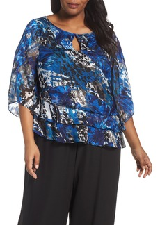 Alex Evenings Asymmetrical Tiered Keyhole Blouse (Plus Size)