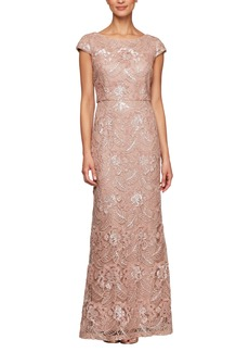 Alex Evenings Beaded & Embroidered Evening Gown
