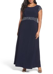 Alex Evenings Beaded A-Line Gown (Plus Size)