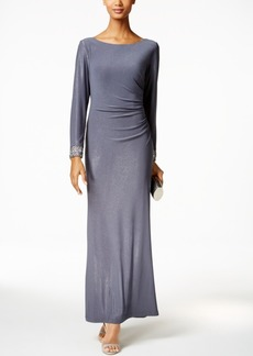 Alex Evenings Beaded-Cuff Ruched Gown