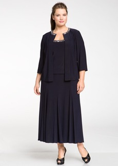 Alex Evenings Beaded Dress & Jacket (Plus Size)