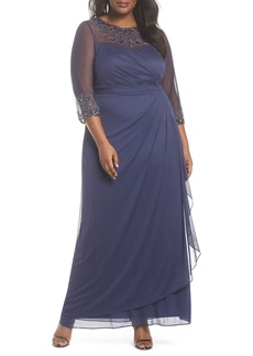 Alex Evenings Beaded Illusion Neck A-Line Gown (Plus Size)