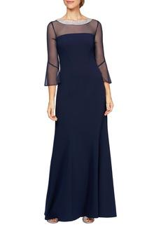 Alex Evenings Beaded Illusion Neckline Gown (Regular & Petite)