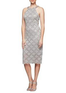 Alex Evenings Beaded Lace Shift Dress