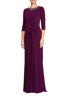 Alex Evenings Beaded Long A-Line Dress