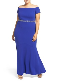 Alex Evenings Beaded Off the Shoulder Gown (Plus Size)