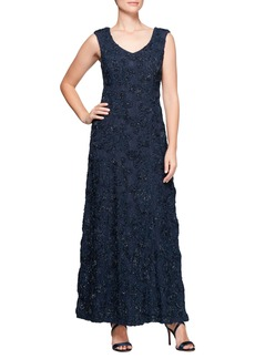 Alex Evenings Beaded Rosette Lace Gown (Regular & Petite)